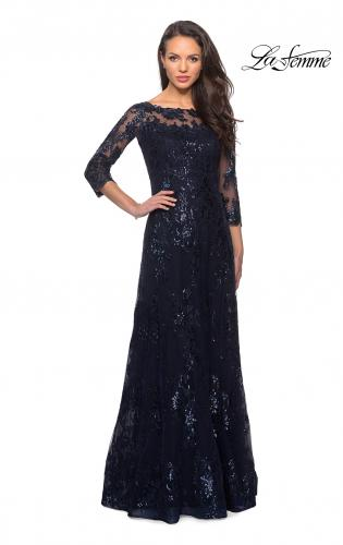 9162970d1ac1 ... Style Picture of  Long Lace Dress wuth Sequins and Sheer 3 4 Sleeves
