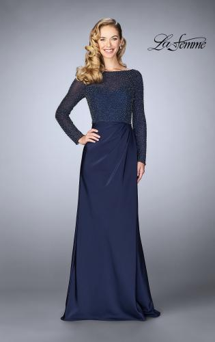 Picture of: Beaded Long Evening Gown with Sheer Sleeves, Style: 24895, Main Picture