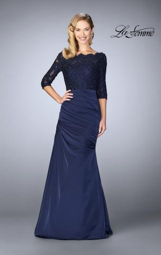 Picture of: Gathered Mermaid Satin Gown with Lace Top, Style: 24926, Main Picture