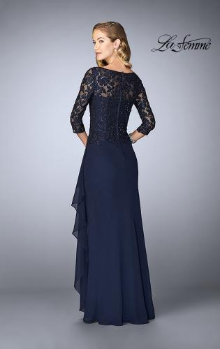 Picture of: Crepe Chiffon Gown with Lace Sweetheart Neckline, Style: 24857, Back Picture