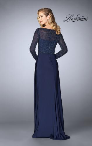 Picture of: Beaded Long Evening Gown with Sheer Sleeves, Style: 24895, Back Picture