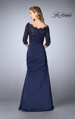 Picture of: Gathered Mermaid Satin Gown with Lace Top, Style: 24926, Back Picture