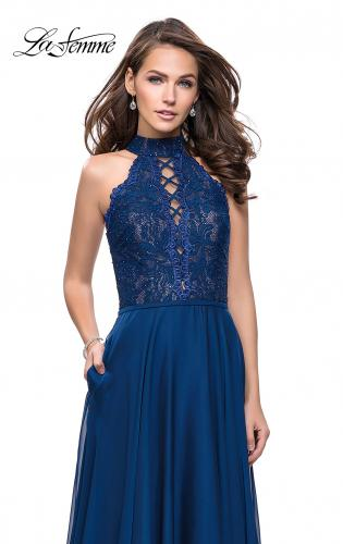 Picture of: Long A Line Chiffon Dress with Lace Up Neckline, Style: 25347, Main Picture