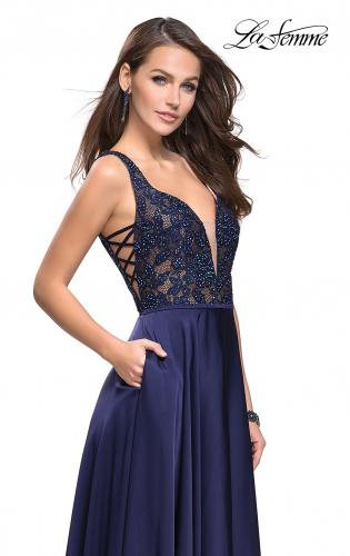 Picture of: Long A line Prom Dress with Lace Up Side Cut Outs, Style: 25436, Main Picture