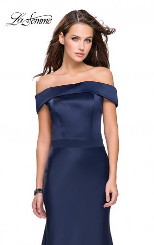 Picture of: Satin Off the Shoulder Dress with Trumpet Silhouette, Style: 25579, Main Picture