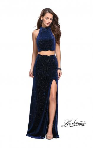 Picture of: Two Piece Velvet Prom Dress with Scallop Detail and Slit, Style: 25667, Main Picture