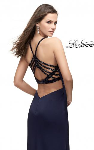 Picture of: Long Jersey Prom Dress with Beaded Strappy Open Back, Style: 25669, Main Picture