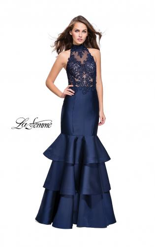 Picture of: Long Mikado Prom Dress with Ruffle Mermaid Skirt, Style: 25707, Main Picture