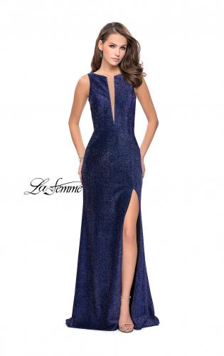 Picture of: Sparkling Jersey Prom Dress with Open Diamond Back, Style: 25869, Main Picture