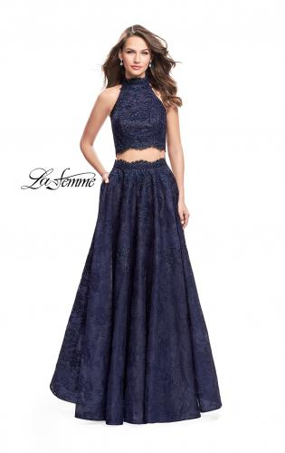Picture of: Long Lace A-line Two Piece Prom Dress with Cut Outs, Style: 26103, Main Picture
