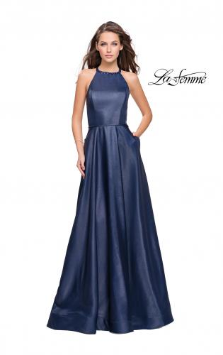 Picture of: Long A-line Beaded Mikado Prom Dress with Pockets, Style: 26162, Main Picture