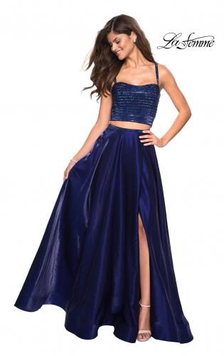 ddf546163f4 Picture of  Two PIece Satin Prom Dress with Rhinestone Top