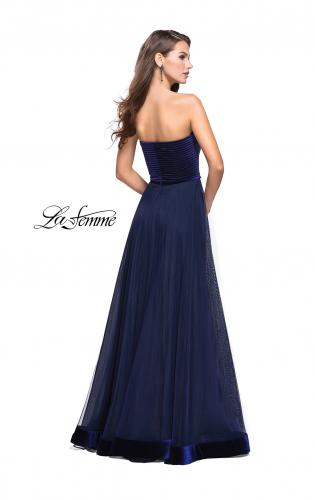 Picture of: Long Strapless Prom Dress with Velvet Bodice Detail, Style: 25408, Back Picture