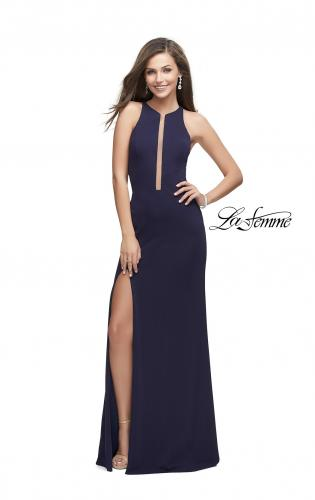 Picture of: Long Jersey Dress with High Neckline and Side Leg Slit, Style: 25477, Back Picture