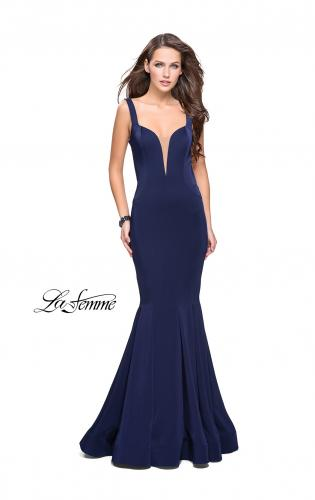 Picture of: Long Jersey Mermaid Prom Dress with Deep V, Style: 25485, Back Picture