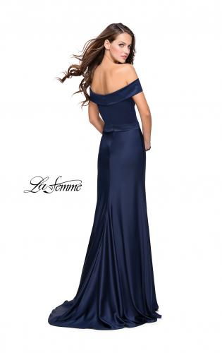Picture of: Satin Off the Shoulder Dress with Trumpet Silhouette, Style: 25579, Back Picture