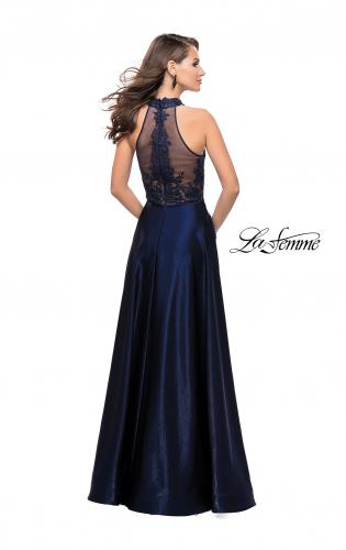 Picture of: Long Prom Dress with Satin A-line Skirt and Beading, Style: 25617, Back Picture