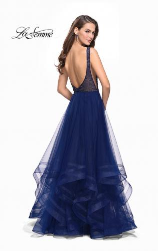 Picture of: Ball Gown with Ruffle Tulle Skirt and Beading, Style: 25620, Back Picture