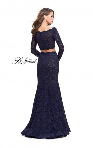 Picture of: Mermaid Style Lace Two Piece Dress with Scalloped Trim, Style: 25668, Back Picture