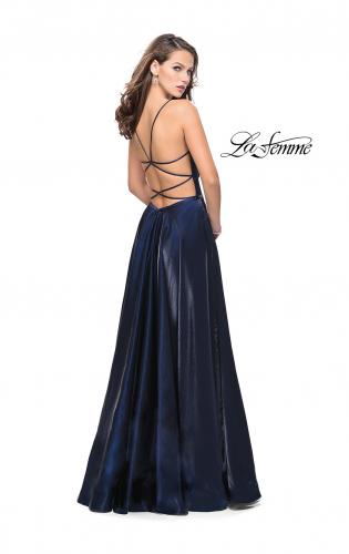 Picture of: Satin A-line Gown with Deep V Sweetheart Neckline, Style: 25670, Back Picture