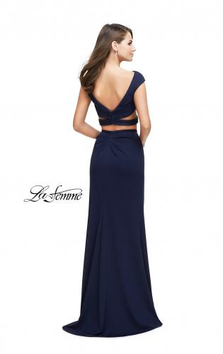 Picture of: Two Piece Wrap Jersey Prom Dress with Short Sleeves, Style: 25815, Back Picture