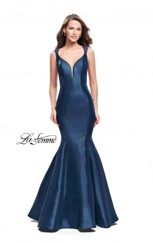 Picture of: Long Mikado Mermaid Gown with Lace Straps, Style: 25972, Back Picture