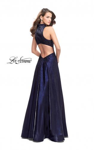 Picture of: Satin Ball Gown with Tonal Beading and Back Cutout, Style: 25986, Back Picture
