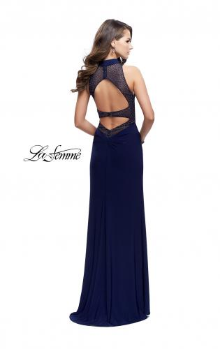 Picture of: Long Form Fitting Prom Gown with Sheer Beaded Detail, Style: 26004, Back Picture