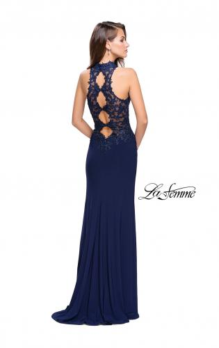 Picture of: Sheer Lace and Beaded Prom Dress with High Neck, Style: 26038, Back Picture