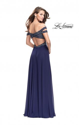 Picture of: A-Line Prom Gown with Beaded Bodice and Chiffon Skirt, Style: 26059, Back Picture