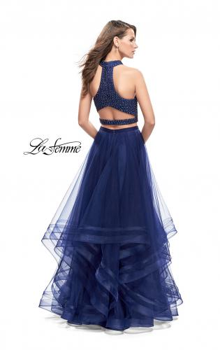 Picture of: Two Piece Prom Gown with Ruffle Tulle Skirt and Beading, Style: 26077, Back Picture
