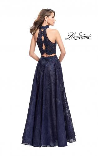 Picture of: Long Lace A-line Two Piece Prom Dress with Cut Outs, Style: 26103, Back Picture