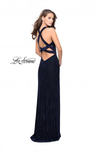 Picture of: Beaded Velvet Patterned Long Prom Dress with Slit, Style: 26116, Back Picture