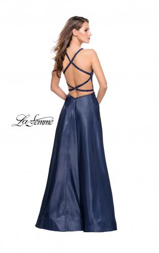 Picture of: Long A-line Beaded Mikado Prom Dress with Pockets, Style: 26162, Back Picture