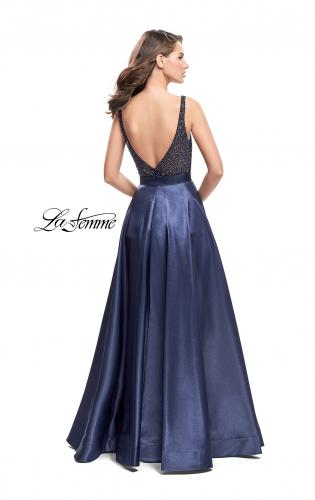 Picture of: Long Mikado Prom Dress with Beaded Bodice, Style: 26203, Back Picture