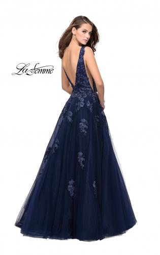 Picture of: Tulle Ball Gown with Beading, Lace, and Mesh Detailing, Style: 26334, Back Picture