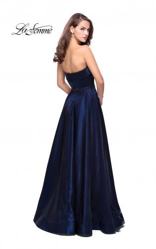 Picture of: Long Strapless Satin A-line Prom Dress with Pockets, Style: 26340, Back Picture