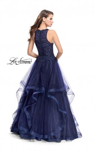 Picture of: Ball Gown with Tulle Skirt, High Neck, Beads, and Lace, Style: 26386, Back Picture