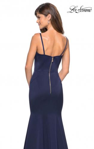 Picture of: Fitted Long Dress with Seams and Large Gold Zipper, Style: 27524, Back Picture