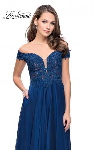 Picture of: Chiffon Prom Dress with Off the Shoulder Lace Top, Style: 25129, Detail Picture 1