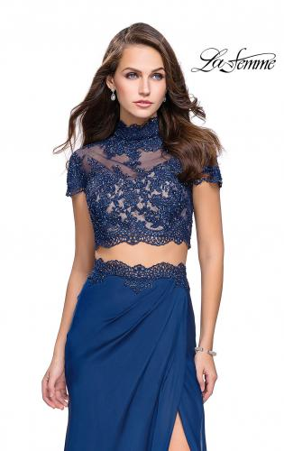 Picture of: Chiffon Two Piece Gown with Lace Top and Belt Detail, Style: 25384, Detail Picture 1