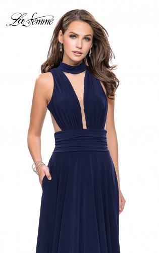Picture of: A-line Prom Dress with Choker Neck Detail and Open Back, Style: 25568, Detail Picture 1