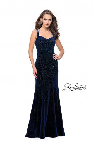 Picture of: Velvet Form Fitting Prom Dress with Intricate Back, Style: 25681, Detail Picture 1