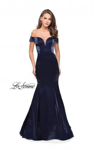 Picture of: Off the Shoulder Satin Prom Dress with Strappy Back, Style: 25764, Detail Picture 1