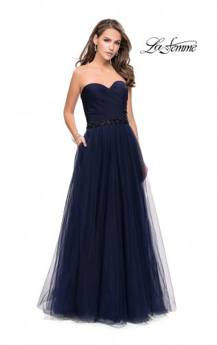 Picture of: Strapless A-line Ball Gown with Layered Tulle Skirt, Style: 25809, Detail Picture 1