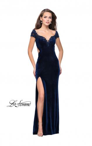 Picture of: Long Off the Shoulder Prom Dress with Beads and Lace, Style: 25823, Detail Picture 1