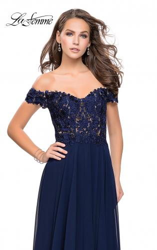 Picture of: Beaded Lace Off the Shoulder Prom Dress, Style: 26070, Detail Picture 1