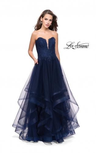 Picture of: Long Strapless Ball Gown with ruffle Tulle Skirt and Beads, Style: 26242, Detail Picture 1