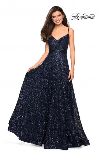 Picture of: sequin Empire Waist Prom Dress with V Back, Style: 27747, Detail Picture 1