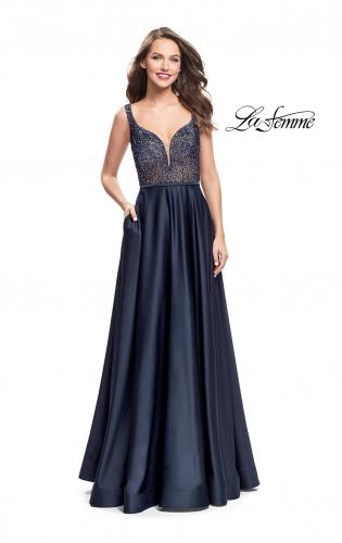 Picture of: Long Satin Dress with A Line Skirt and Beaded Top, Style: 25348, Detail Picture 2